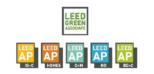 LEED Consulting image of all of the available LEED Credential logos in two tiers, LEED Green Associate, LEED AP ID+C, Homes, O+M, ND, BD+C