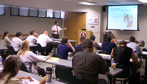 photo of SIG's Charlie Cichetti teaching a LEED class