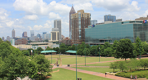 photo overlooking Centennial Park in Atlanta
