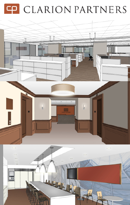 renderings of Clarion Partners Office Renovation | LEED Platinum Certification