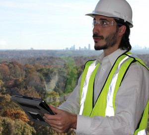 photo of engineer performing onsite Energy Modeling testing