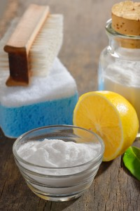 photo showing organic cleaners with baking soda and lemon