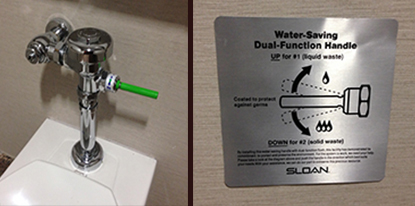 Water Saving Toilet Handle and Sign | Sustainable Investment Group (SIG)