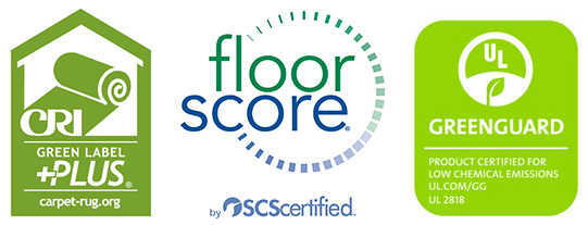 3 green product labels: GREENGUARD for building products, Floorscore for flooring, and the Green Label Plus for Carpets
