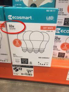 9.5W light bulb | pack of 4 LED light bulbs | 9.5W light bulb that appears to be 60W light bulb