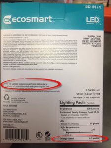 LED light bulb box with 9.5 watts circled in red | box of LED light bulbs | light bulb buying guide