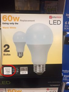 "what are the best light bulbs to buy | pack of 2 LED light bulbs with lumens circled for informative instructional article about ""what are the best light bulbs to buy"""