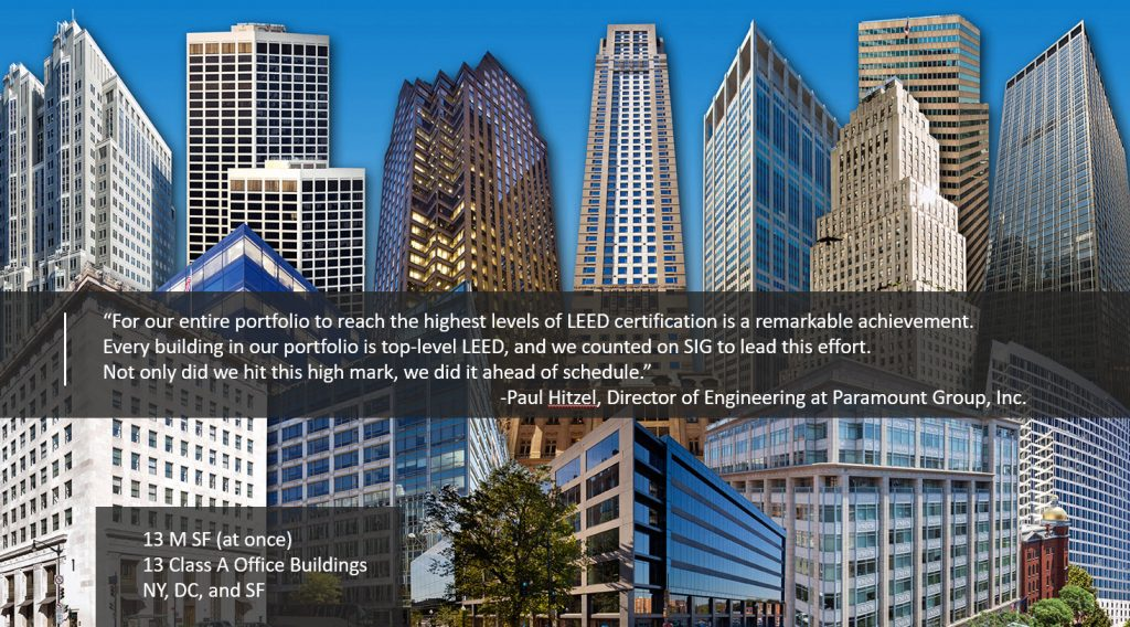 LEED Volume, LEED Volume buildings, LEED Volume building collage with testimonial on top, LEED EB Volume, LEED Volume Program