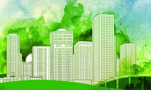 digital illustration of modern buildings against a green background