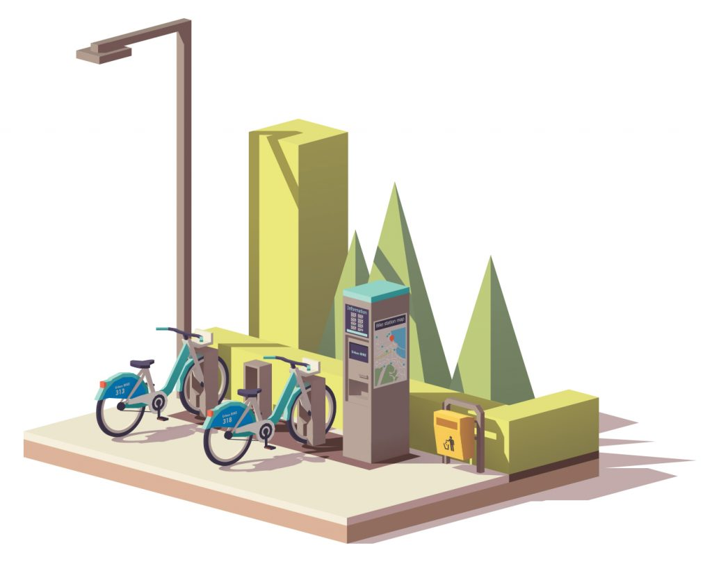 illustration of a bike share station | Sustainable Investment Group (SIG)