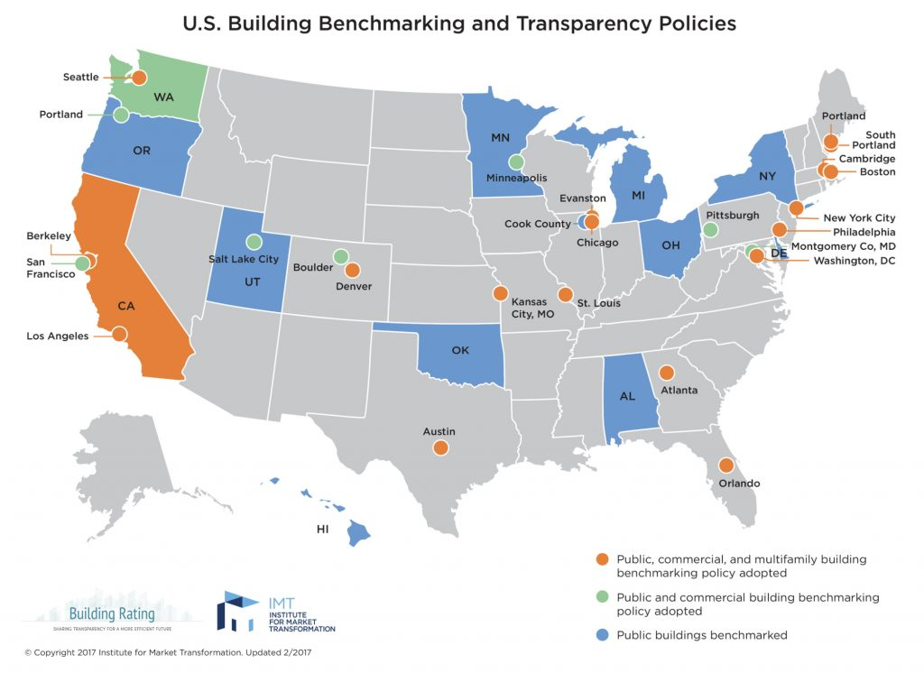 map image showing U.S. Building Benchmarking and Transparency Policies