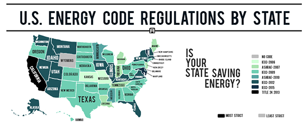 California's Title 24 | map of U.S. Energy Code Regulations by State