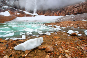 Icebergs float in glacial meltwater from the Angel Glacier in Jasper National Park of Canada.