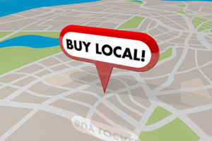 Map with Buy Local pin on it