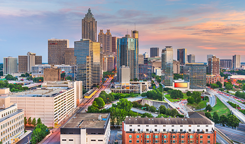 Skyline photo of downtown Atlanta at dusk