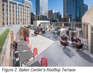 Photo of the rooftop terrace at Baker Center