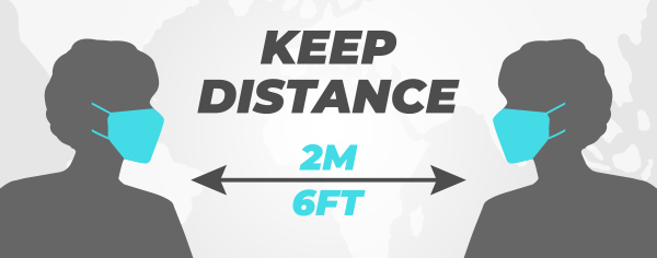 graphic image showing a social distance of 6 feet