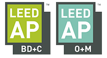LEED AP BD+C and LEED AP O+M logos