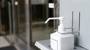 photo of hand sanitizer in lobby