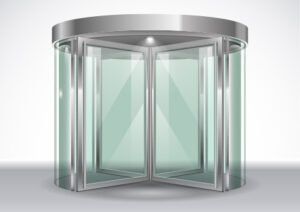 illustration of rotating doors