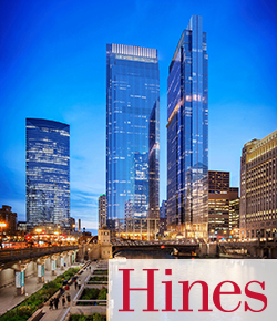 rendering of Wolf Point South with Hines logo | SIG